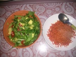 turmeric and tomato rice with salad